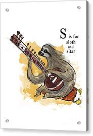 S Is For Sloth Acrylic Print by Sean Hagan