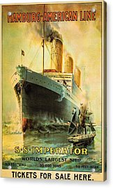 S S Imperator--the World's Largest Ship--hamburg-american Line Acrylic Print by Unknown