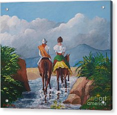 Sabanero And Wife Crossing A River Acrylic Print