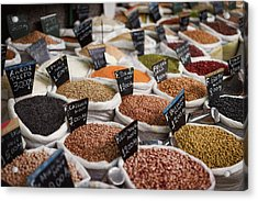 Sacks Of Beans And Grains In Market Acrylic Print by Ktsdesign/science Photo Library