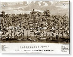 Sacramento From Foot Of J Showing I. J. - K. Sts. With The Sierra Nevada In The Distance Street 1850 Acrylic Print