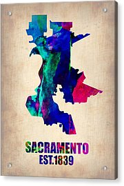 Sacramento Watercolor Map Acrylic Print