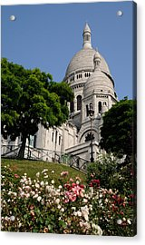 Sacre Coeur Flowers Acrylic Print by Jeremy Voisey