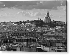 Sacre Coeur Over Rooftops Black And White Version Acrylic Print by Gary Eason