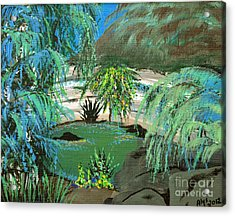 Acrylic Print featuring the painting Sacred Cenote At Chichen Itza by Alys Caviness-Gober