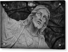 Sacred Heart Of Jesus - Bw Acrylic Print by Beth Vincent