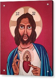 Sacred Heart Of Jesus Acrylic Print by Susan Howard