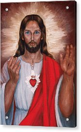Sacred Heart Of Jesus Acrylic Print by Terry Sita