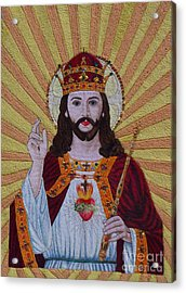 Sacred Heart Of Jesus Hand Embroidery Acrylic Print by To-Tam Gerwe