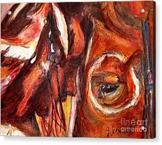 Sacred Horse With Indian Acrylic Print by Jodie  Scheller
