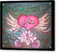 Sacred Soulmates And Twin Flames Acrylic Print by Absinthe Art By Michelle LeAnn Scott
