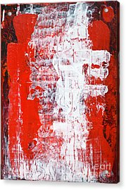Sacrifice Red White Abstract By Chakramoon Acrylic Print by Belinda Capol