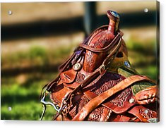 Acrylic Print featuring the photograph Saddle In Waiting Western Saddle Horse by Eleanor Abramson