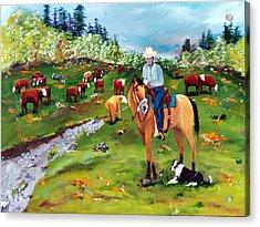 Saddle Pals Acrylic Print by Gail Daley