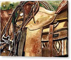 Saddle Texture Acrylic Print by Nadi Spencer