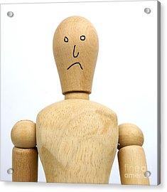 Sadness Wooden Figurine Acrylic Print by Bernard Jaubert