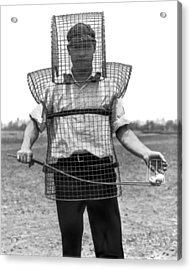 Safety Cage For Caddies Acrylic Print by Underwood Archives