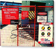 Acrylic Print featuring the photograph Safety Signs by Laurie Tsemak