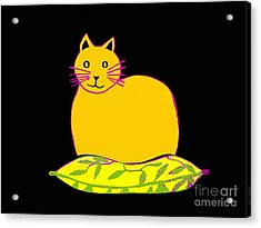 Saffron Cat On Black Acrylic Print