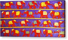 Saffron Elephants Acrylic Print by Cassandra Buckley