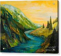 Saffron Sky Acrylic Print by Larry Martin