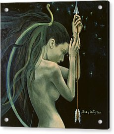 Sagittarius From Zodiac Series Acrylic Print by Dorina  Costras