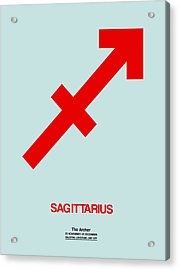 Sagittarius Zodiac Sign Red Acrylic Print by Naxart Studio