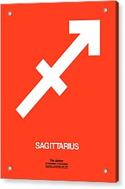 Sagittarius Zodiac Sign White On Orange Acrylic Print by Naxart Studio