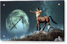 Sagittarius Zodiac Symbol Acrylic Print by Daniel Eskridge