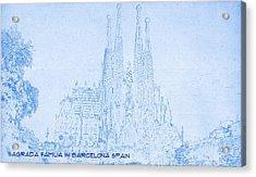Sagrada Familia In Barcelona Spain  - Blueprint Drawing Acrylic Print by MotionAge Designs