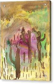 Saguaro Desert Acrylic Print by Mukta Gupta