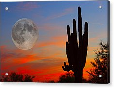 Saguaro Full Moon Sunset Acrylic Print