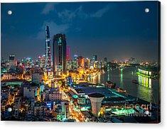 Saigon Aerial Night Skyline Acrylic Print by Fototrav Print