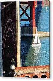 Sail Boat Passes Beneath The Golden Gate Bridge Acrylic Print
