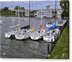 Sail Boats 4 In A Row Acrylic Print by Thomas Woolworth