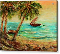 Acrylic Print featuring the painting Sail Boats On Indian Ocean  by Sher Nasser