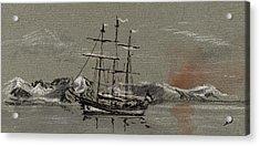 Sail Ship At The Arctic Acrylic Print by Juan  Bosco