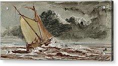Sail Ship Stormy Sea Acrylic Print by Juan  Bosco