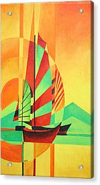 Acrylic Print featuring the painting Sail To Shore by Tracey Harrington-Simpson