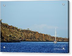 Sailboat Along Island Coastline Acrylic Print