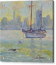 Sailboat Anchored At Sunset Acrylic Print by Dominique Amendola