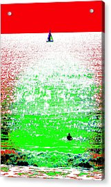 Sailboat And Swimmer -- 2a Acrylic Print by Brian D Meredith