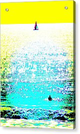 Sailboat And Swimmer -- 2c Acrylic Print by Brian D Meredith