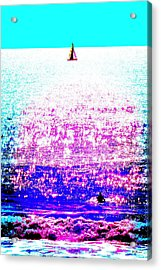 Sailboat And Swimmer -- 2d Acrylic Print by Brian D Meredith