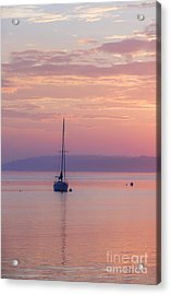 Sailboat At Sunrise In Casco Bay Maine Acrylic Print by Diane Diederich