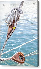 Acrylic Print featuring the photograph Sailboat Deadeyes 1 by Leigh Anne Meeks