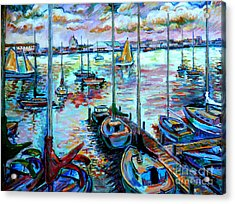 Sailboat Harbor Acrylic Print by Stan Esson