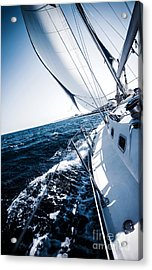 Sailboat In Action Acrylic Print