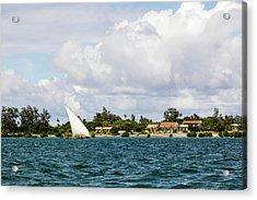 Sailboat In Choppy Waters, Ibo Island Acrylic Print by Danita Delimont
