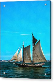 Sailboat In The Bay Acrylic Print by Mick Flynn